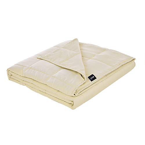 (ZonLi Premium Weighted Blanket (60''x80'', 15lbs for 130-170 lbs, Cream) for Adults Women, Men, Children | Premium Cotton with Glass)