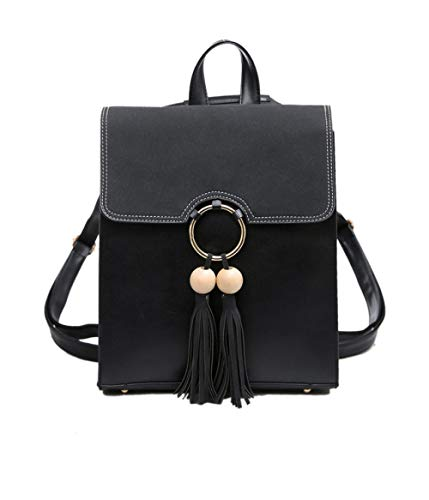 Backpack Grey Simple Wind Tassel Wooden Bag New Casual Large Shoulder Ball College Woman Bag UnfzOq