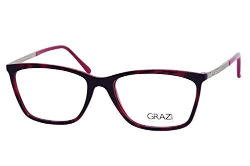 a64203a619c72 Óculos de Grau Grazi Massafera GZ3042 F245 Tartaruga Vermelho Lente Tam 54