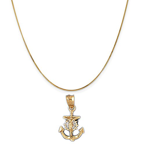 14k Yellow Gold Mariners Cross/Crucifix Pendant on a 14K Yellow Gold Curb Chain Necklace, 20