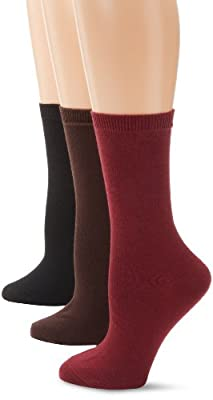 Nine West Women's Solid Flat-Knit Crew Sock Three-Pack