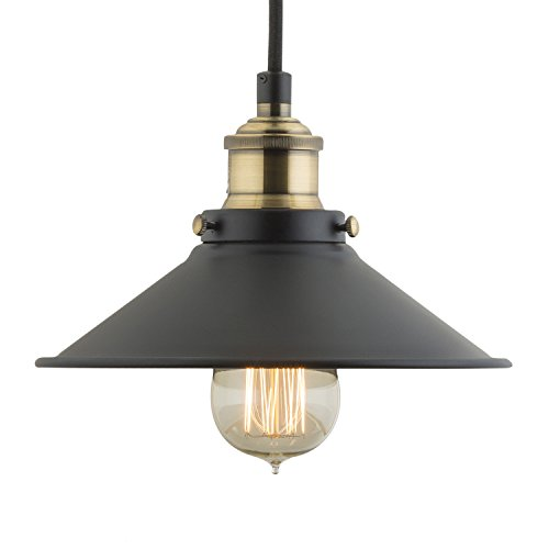 Linea di Liara Andante Industrial Factory Pendant Lamp - Antique Brass One-Light Fixture with Metal Shade Exposed Hardware Fabric Wrapped Cord - 5-Inch Canopy - Downlight Modern Vintage LL-P407-AB