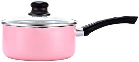 PLYY Portable Sartenes para sartén Antiadherente Grande Leche Pan Mini Olla con Tapa de Color Caramelo práctica Olla de Cocina, Grey