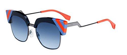New Fendi WAVES FF 0241/S PJP/08 black light blue orange/blue shaded Sunglasses