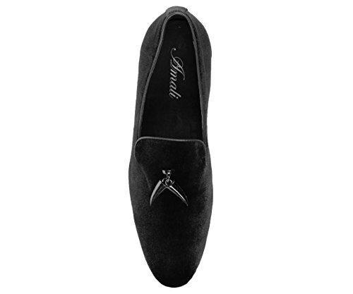 Pantofola Fumatori In Velluto Da Uomo Di Amali Con Nappina In Corno Di Metallo, Slip On Nightclub Dress Shoe, Style Heath Black