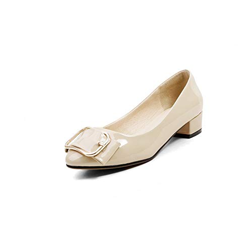 BalaMasa Womens Beaded Structured Solid Urethane Pumps Shoes APL11064 apricot