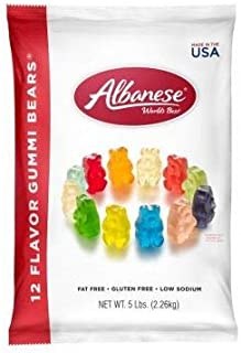 product image for Albanese Candy 12 Flavor Gummi Bears 5 lb Bag, Assorted Gummi Bears: Cherry, Pink Grapefruit, Watermelon, Strawberry, Orange, Blue Raspberry, 2 Pack