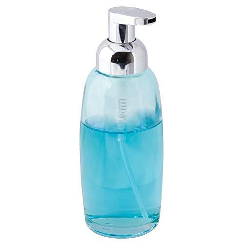 mDesign Modern Glass Refillable Foaming Soap Dispenser Pump Bottle for Bathroom Vanity Countertop, Kitchen Sink - Save on Soap - Vintage-Inspired, Compact Design - Aqua Blue/Chrome