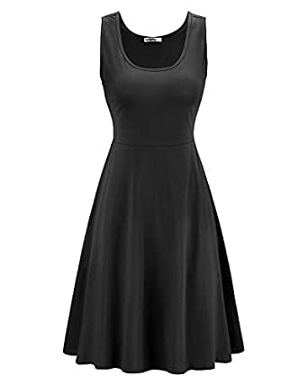 STYLEWORD Women's Sleeveless Casual Cotton Flare Dress(Black001,S)