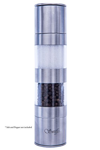 2 in 1 Premium Salt and Pepper Grinder Shaker - Adjustable Coarseness - Stainless Steel and Acrylic - for Gourmet Kitchen Chefs - Good Fresh Grind - Stylish Classic Design - Nice On Table