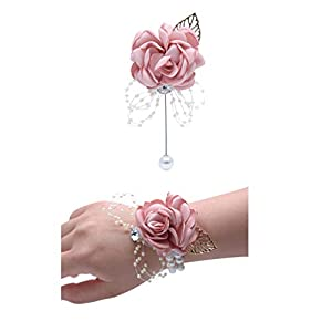JustMyDress Wedding Wrist Corsage Brooch Set Flower Bead Bracelet Bridesmaid Prom Party JW72 (A) 15