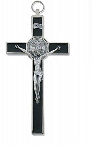 (8 Inch Black Epoxy St. Benedict Crucifix with 24 Inch Medium Rhodium Chain)