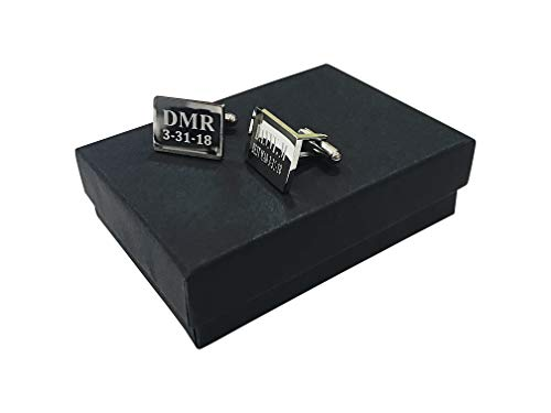 4 Cuff link sets with gift boxes - Groomsmen engraved personalized wedding gift - Gift box included Engraving included - Graduation - Best Man - Father's day - Groomsman gift set for men