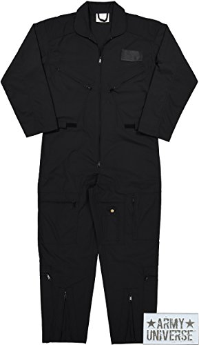 Air Force Flight Suits, US Military Type Coveralls, Uniform Overalls / Jumpsuits with Army Universe Pin (Black, 6X-Large) by Army Universe