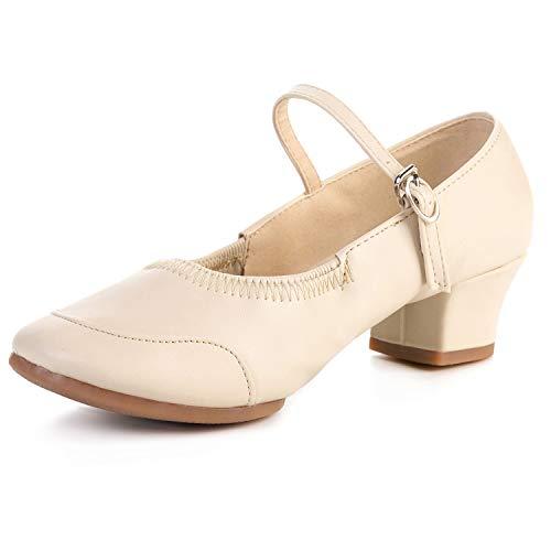 FEETCITY Dance Shoes Women Latin Salsa Performance Dance Shoes TPR Sole Beige 4.5 Big Kid / 5 Women