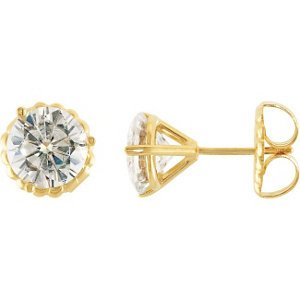 4 Cttw Charles & Colvard 14k Yellow Gold Moissanite Solitaire Stud Earrings by The Men's Jewelry Store (Unisex Jewelry)
