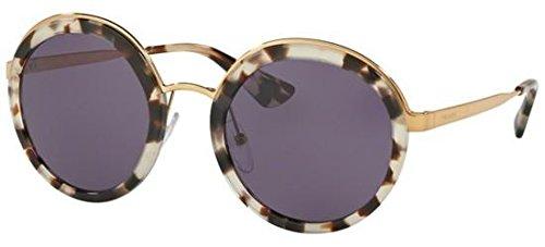 (Prada Women's Round Sunglasses, White Havana/Violet, One Size)