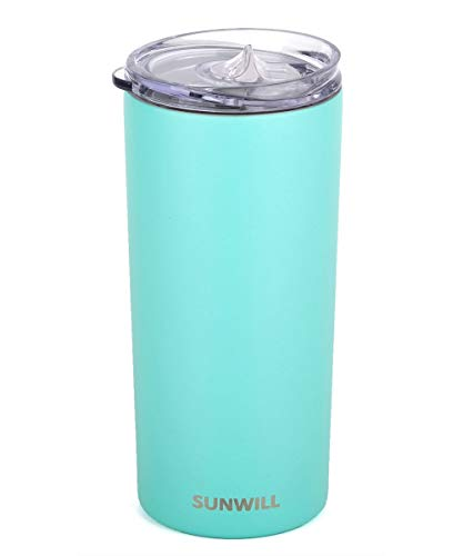 - SUNWILL Tumbler Skinny Travel Tumbler with Lid, Vacuum Insulated Double Wall Stainless Steel 14oz for Coffee, Tea, Beverages, Powder Coated Teal