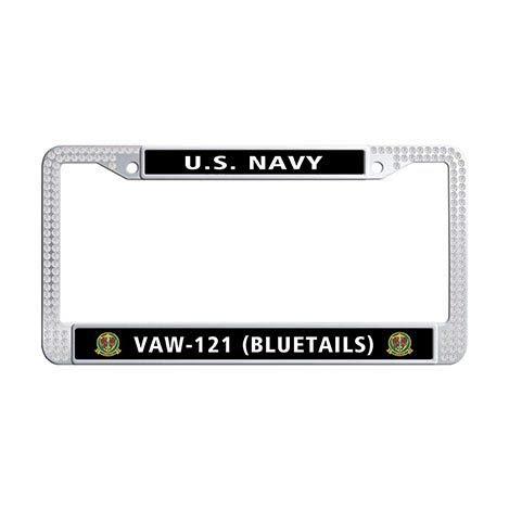 Makoncase US Navy Carrier Airborne Early Warning Squadron 121 (VAW-121) License Plate Frame,Black Rhinestones Bluetails License Frame Car