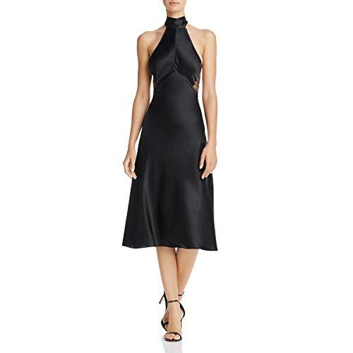 Silk Dress Neck Halter (Cami NYC Womens Holly Silk Halter-Neck Midi Dress Black S)