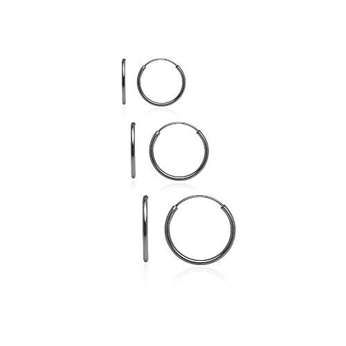 Hoops & Loops Black Flash Sterling Silver 10mm, 12mm & 14mm Small Endless Hoop Earrings, Set of (3mm Hammered Hoop Earrings)