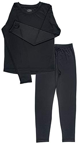 Trimfit Girls Space Dye Long-Sleeve w/Thumbholes Long Underwear Thermal Set, Black, X-Large ()