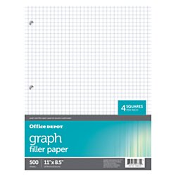 Quadrille Graph Paper (Office Depot Quadrille-Ruled Notebook Filler Paper, 8 1/2in. x 11in., Pack Of 500 Sheets, 09229OD)