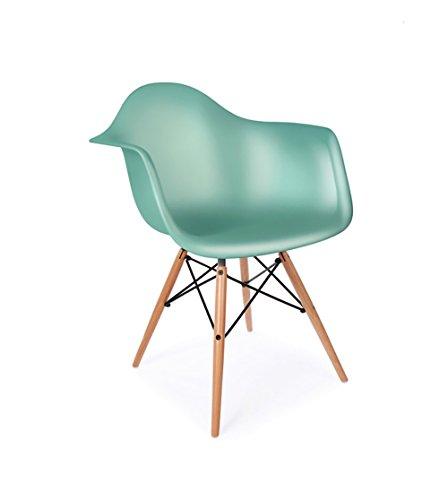 ModHaus Mid Century Modern Eames Style DAW Light Aqua Chair with Dowel Base Pearl Finish Aqua Tulip Garden