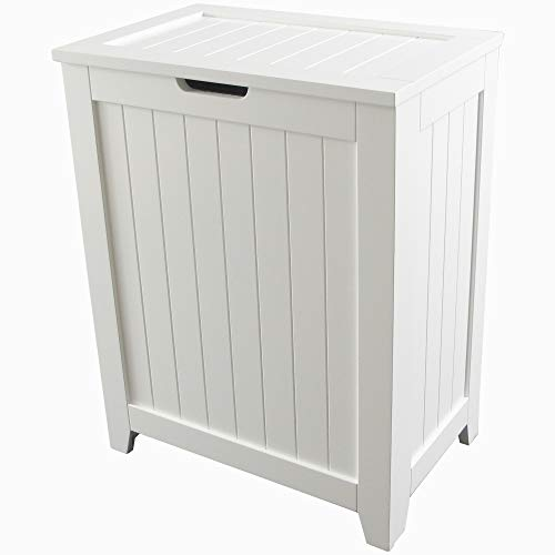 (Nova Natural White Wooden Hamper with Flip Lid, Storage Bin Basket, Home Organizer Hamper for Bathroom Laundry Bedroom with Modern Design,Durable and Wood Construction)