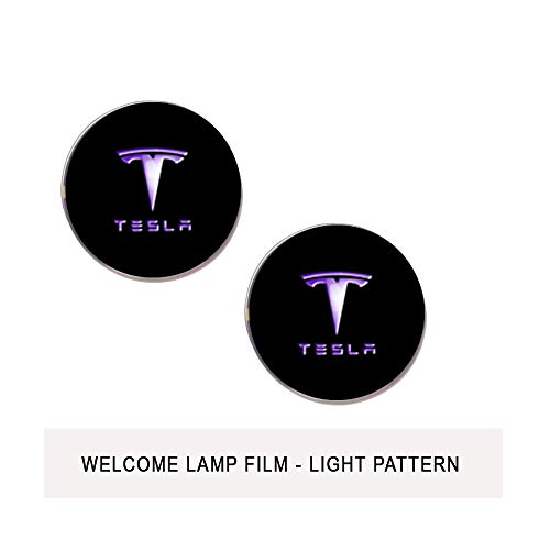 CoolKo Newest Tesla Pattern Films for Model S, Model X and Model 3 Welcome Light [2 Pieces White Blue - Tesla Logo and Name Pattern Film - Design 3] (Hologram Cup)