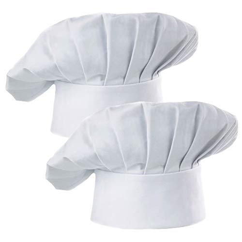 Hyzrz Chef Hat Set of 2 Pack Adult Adjustable Elastic Baker Kitchen Cooking Chef Cap, White