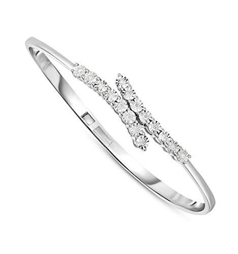 NATALIA DRAKE 1/4Cttw Diamond Open Cuff Expandable Bangle Bracelet (Small-Sz 6)