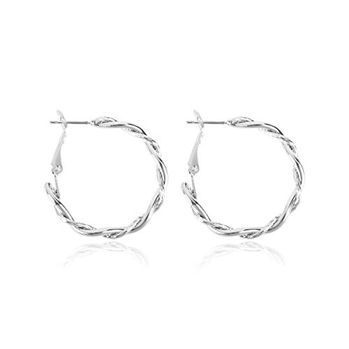 RIAH FASHION Simple Lightweight Geometric Statement Hoop Earrings - Classic Thin Wire Delicate Curved Threader Dangles Round/Pear/Horseshoe/Wood Oval (Twisted Rope - Silver Small)