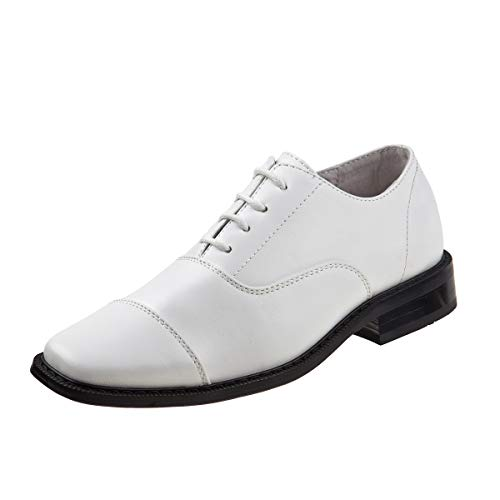 Joseph Allen Boys Cap Toe Oxford Dress Shoe (Toddler, Little Kid, Big Kid) (12 M US Little Kid, White Cap Toe)' Boys White Dress Shoes