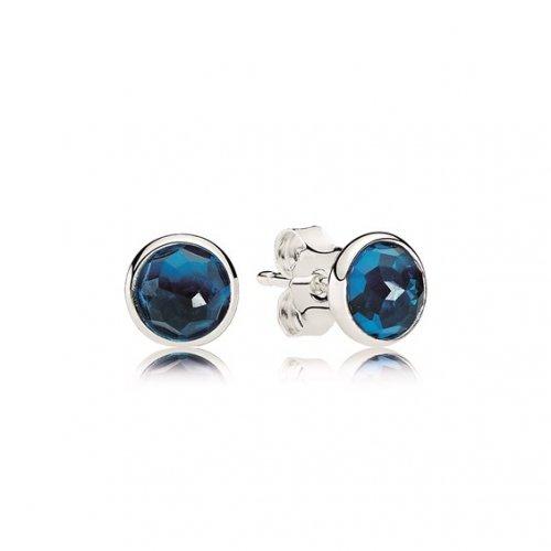 PANDORA December Droplets Stud Earrings, London Blue Crystal 290738NLB