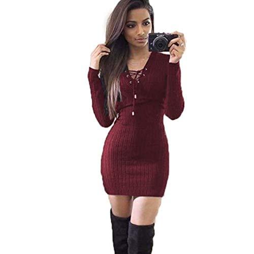 Saoye Fashion Robe Bodycon Femme Printemps Automne Robe Elgante Mode Loisir Vintage Unicolore Bandage Fille Vtements V Cou Manches Longues Robe Bustier Robe Mini Winered
