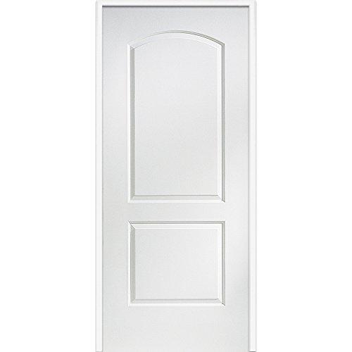 National Door Company ZZ364265R Solid Core, Primed, Molded 2-Panel Archtop, Right Hand, Prehung Interior Door, 32