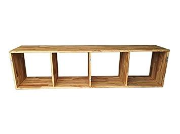 Sam Stilvolles Holz Regal Cube Iv Aus Wildeiche Massiv Würfel Mit 4 Fächern Und Pflegeleichter Geölter Oberfläche Natürliche Optik Ideal