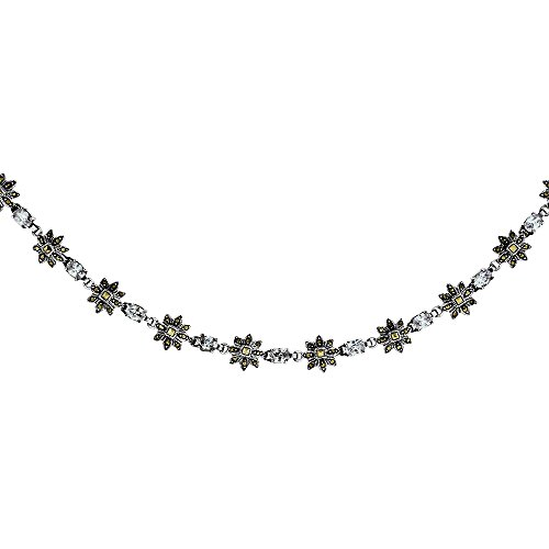 Sterling Silver Cubic Zirconia Lavender Sun Inspired Marcasite Necklace, 16 inches long by Sabrina Silver