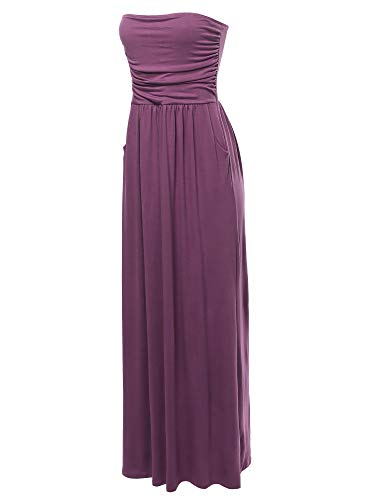 A2Y Solid Viscose Tube Top Double Layer Side Pockets Maxi Dress Eggplant M