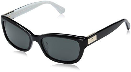 Kate Spade Women's Marilee/p/s Rectangular Sunglasses, BLACK IVORY/GRAY POLARIZED, 53 ()