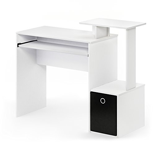 FURINNO 12095WH/BK Econ Home Computer Desk with Shelves, White/Black