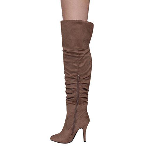 Stivali Da Donna Con Tacco A Spillo Per Sempre Ic53 Da Donna, Colore: Taupe, Misura: 8.5