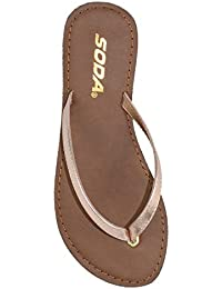 abfd7a48546fbd Shoes Women Flip Flops Basic Plain Sandals Strap Casual Beach Thongs FELER  Rose Gold Penny Bronze · SODA