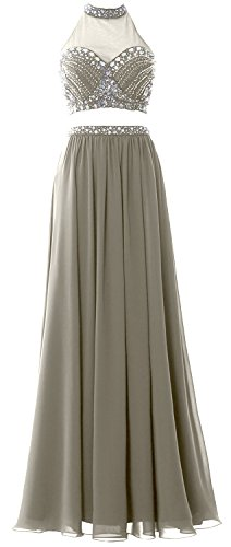 MACloth Women 2 Piece Long Prom Dress Halter Chiffon Beaded Formal Evening Gown Plateado