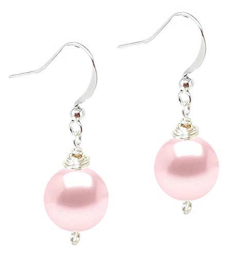 Wire Wrapped Swarovski (tm) Crystal Pearl Drop Earrings - Rosaline (Light Pink) (E619)