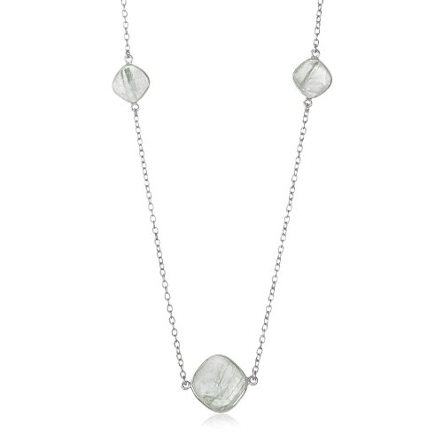 - Sterling Silver Rhodium Plated Green Rutilated Quartz Cushion Station Necklace