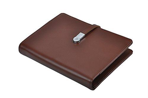 Leather Organizer 3 Ring Binder Portfolio with Magnetic S...