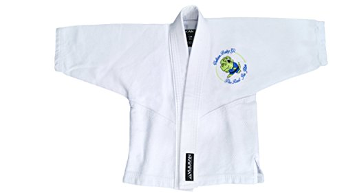 (Vulkan Fight Company Brazilian Jiu Jitsu, BJJ GI Baby Dino Limited Edition, Baby Girl or Boy, White with Baby Dinosaur, B1)