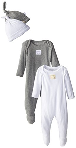 Burt's Bees Baby Baby Unisex's Romper and Hat, One Piece Jumpsuit and Beanie Set, 100% Organic Cotton, Heather Grey/White 2-PK 0-3 Months